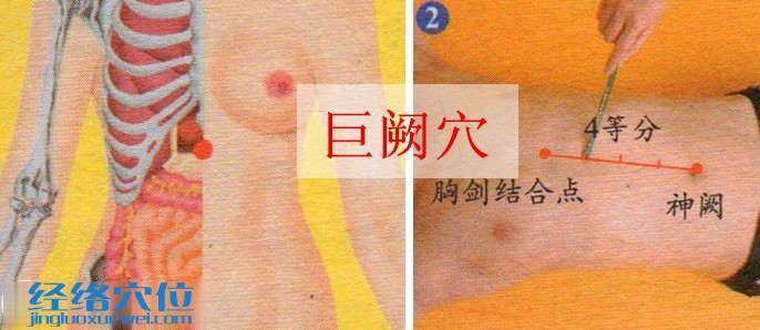 巨阙穴的取穴方法示范图